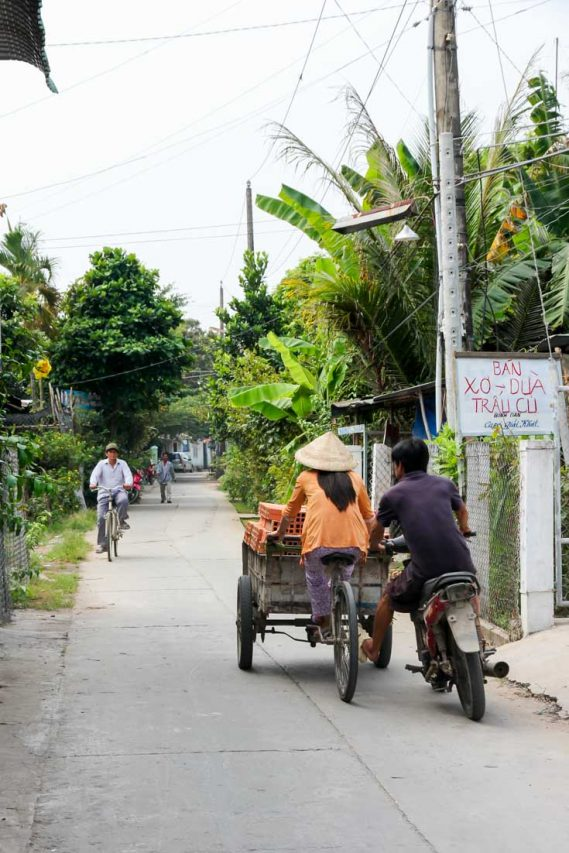 Local people cycling down path between farms.