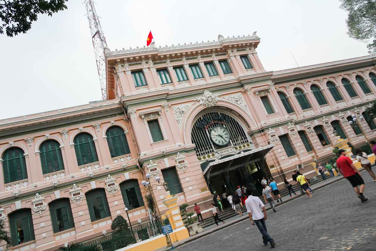 Pink, French Colonial exterior of Saigon Central Post Office