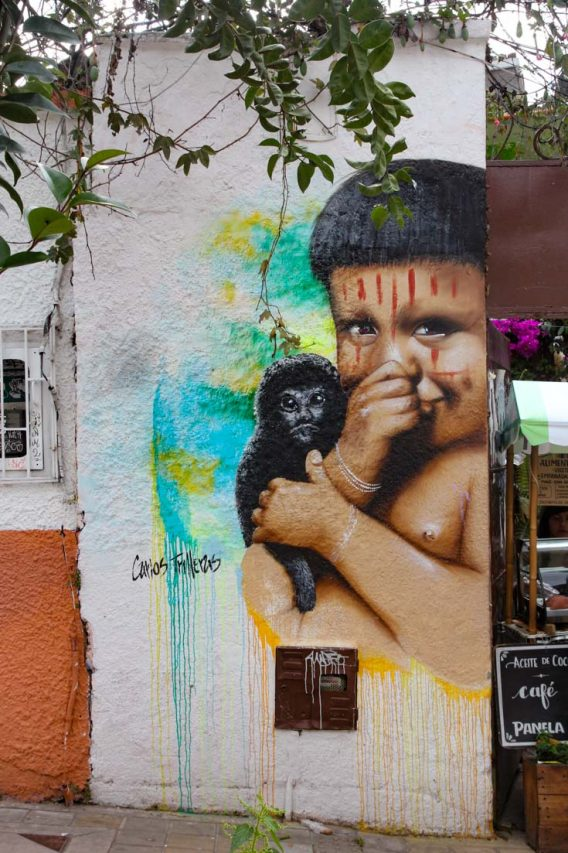 Painting of young indigenous boy with monkey on his shoulder