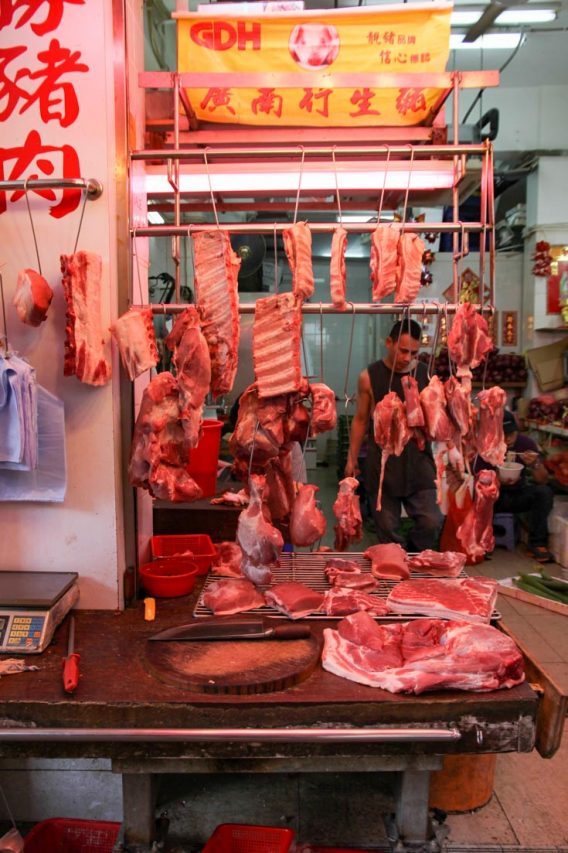 Meat hanging in butchers shop