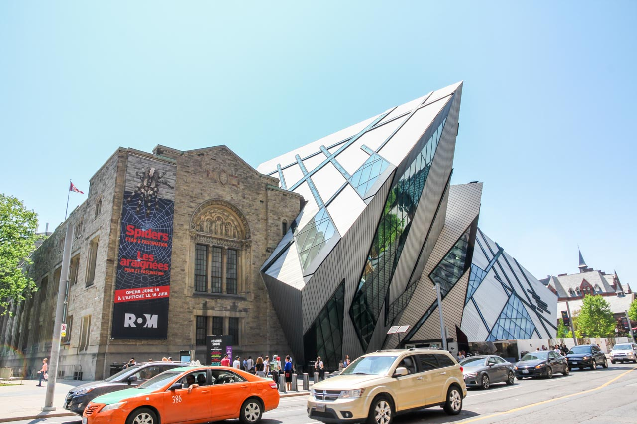 Exterior of Royal Ontario Museum from across the street showing old and new architecture.