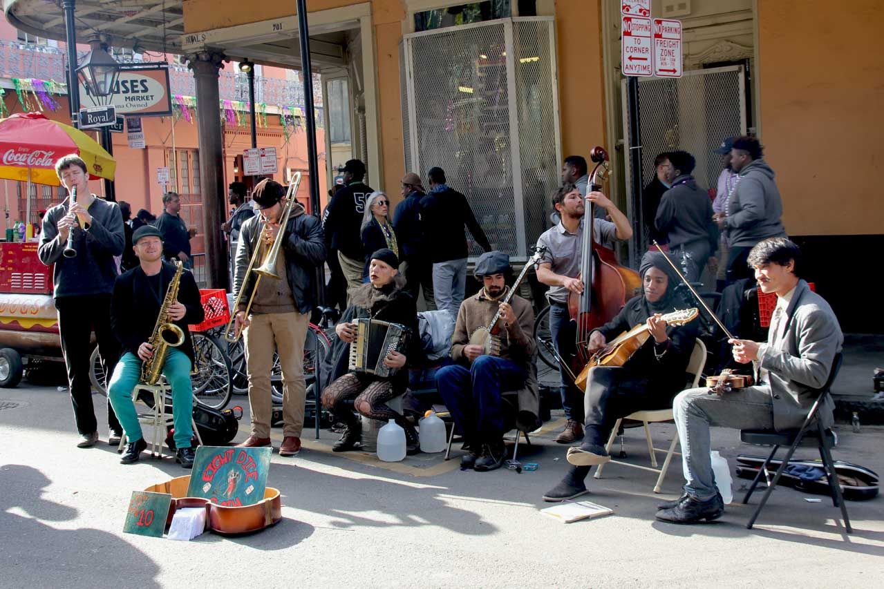8-piece band playing in a French Quarter street