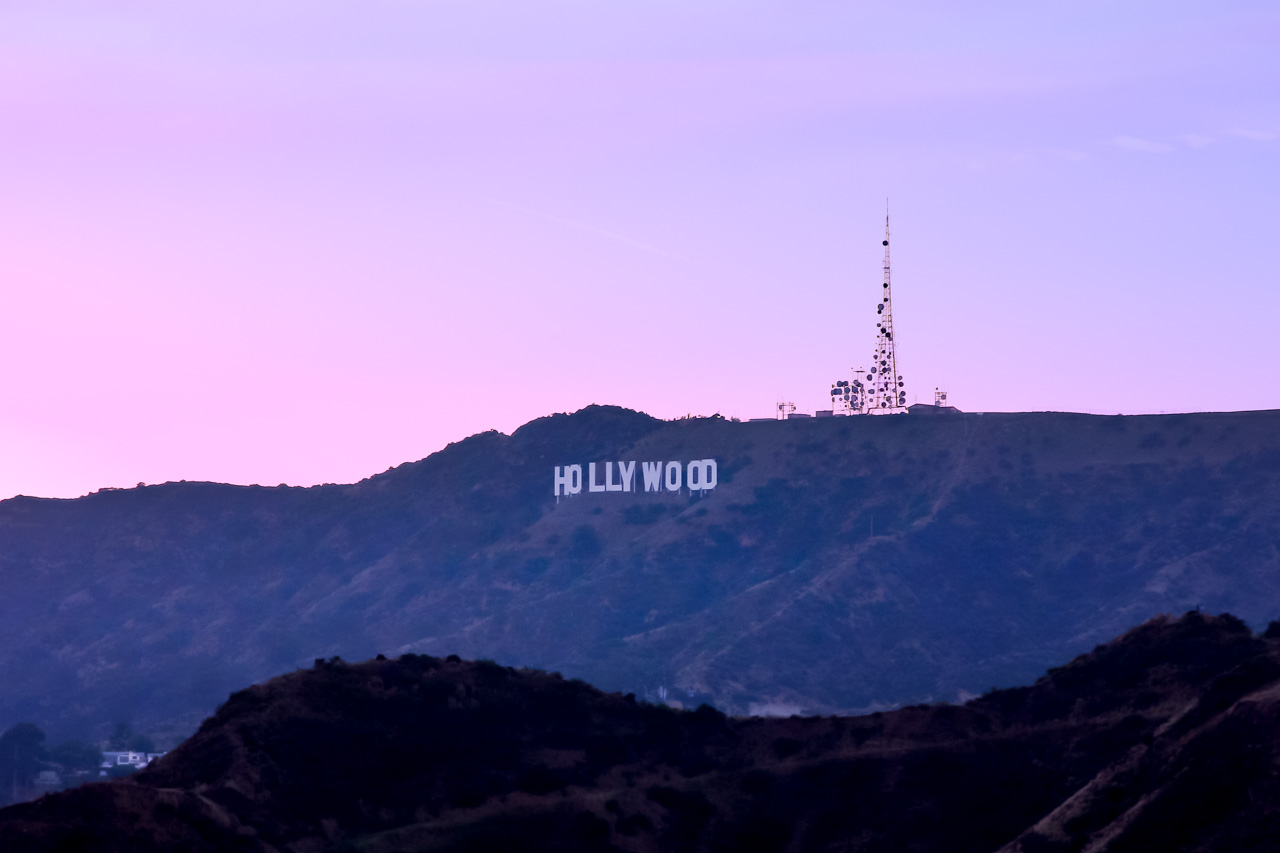 Sunset view of the Hollywood Sign from Griffith Observatory