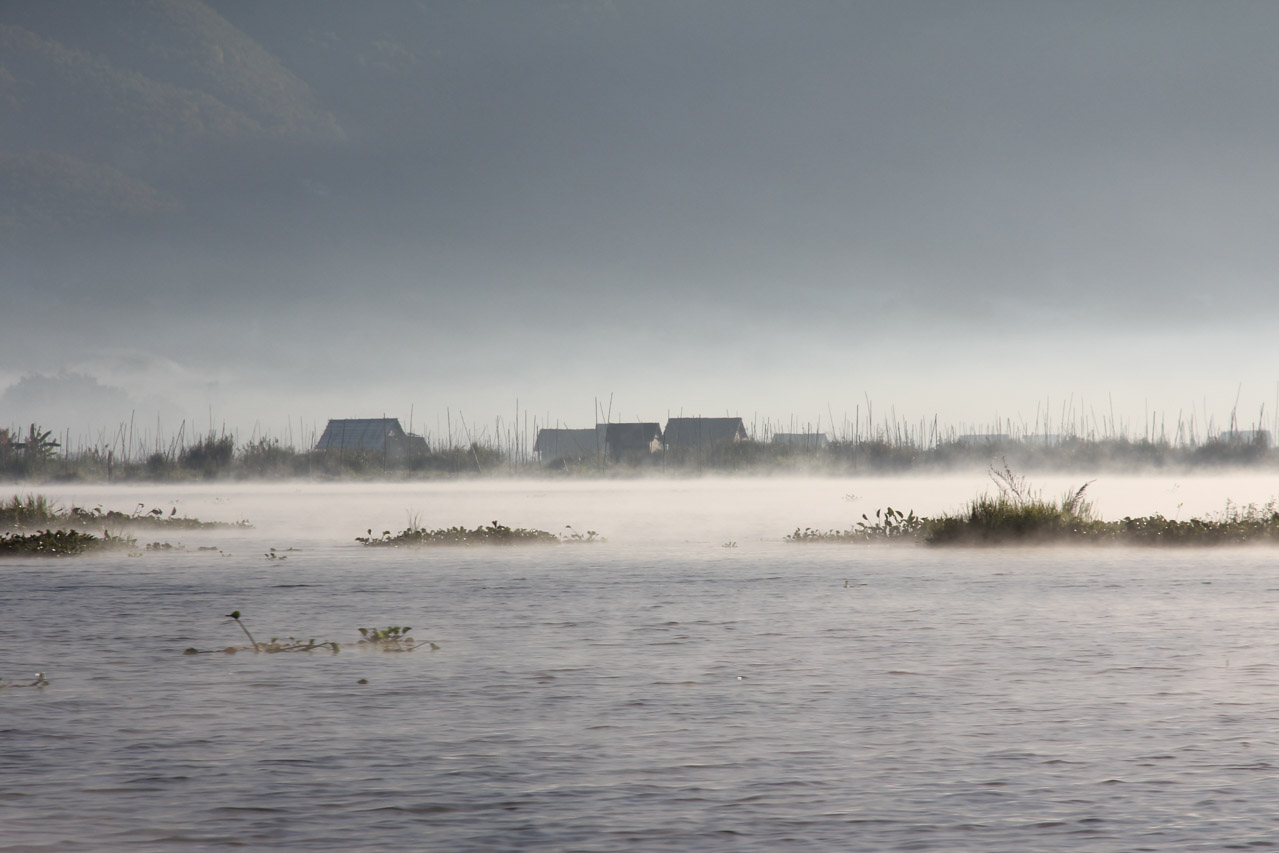 Mist sitting on Lake with buildings and hydroponics in background