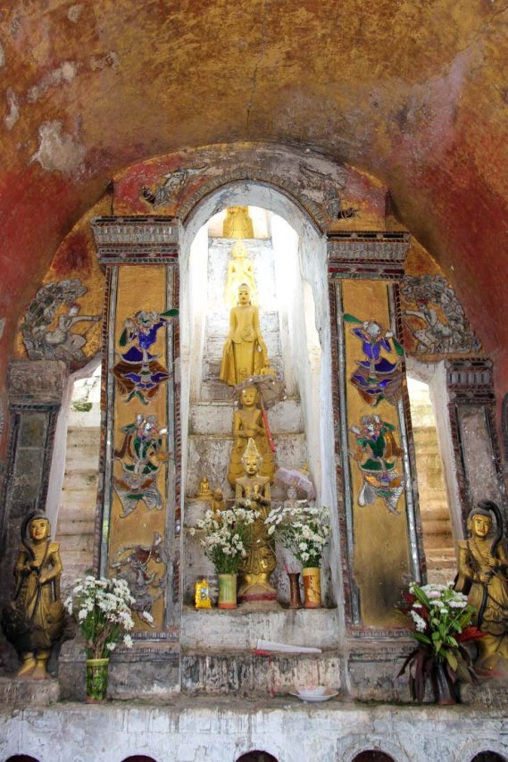Golden Buddha images and colourful mosaics in Shwe Yan Pyay
