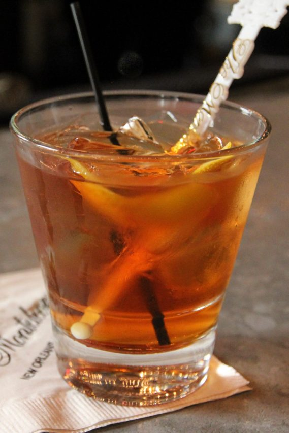 Vieux Carré in glass on napkin