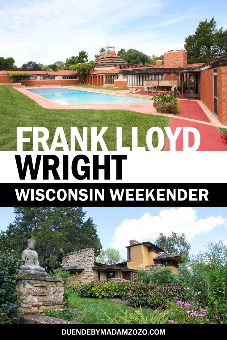 "Images of two large homes, with text overlay ""Frank Lloyd Wright Wisconsin Weekender"""