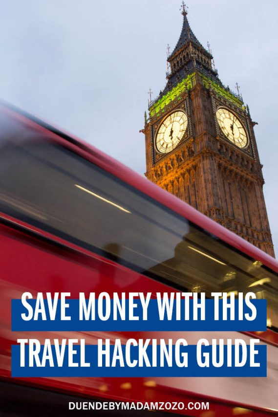 "Image of red, double decker bus passing Big Ben with text ""Travel Hacking 101 for busy people"""