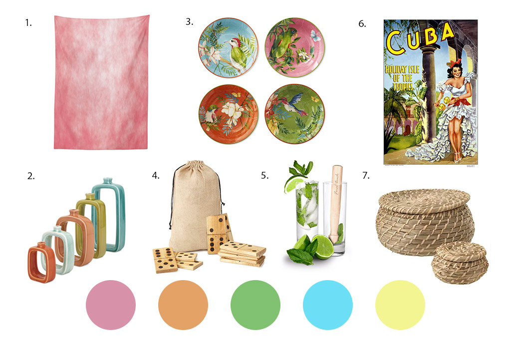 Images of Cuban themed party ideas including vases, vintage travel poster, woven baskets, colourful plates, mojitos and giant dominoes