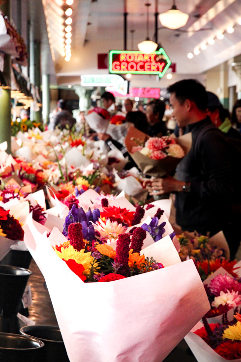 Bouquets of flowers for sale in Pike Place Market