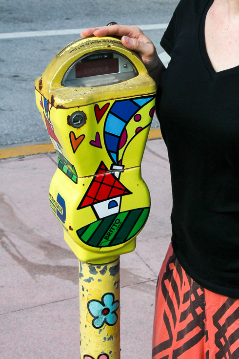 Photo of parking metre painted with bright pop art