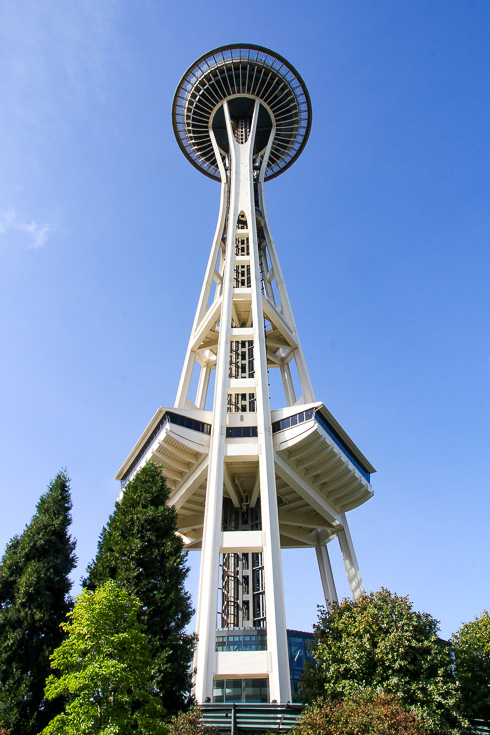 Seattle Space Needle viewed from below with blue sky