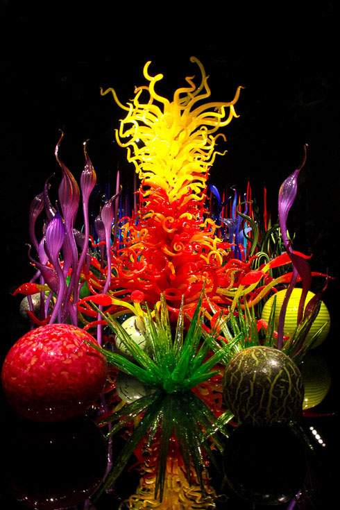 Colourful glass sculptures illuminated in a dark room