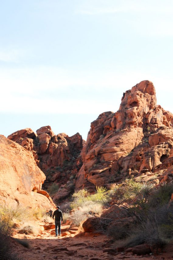 Photo of man walking down canyon of red rock