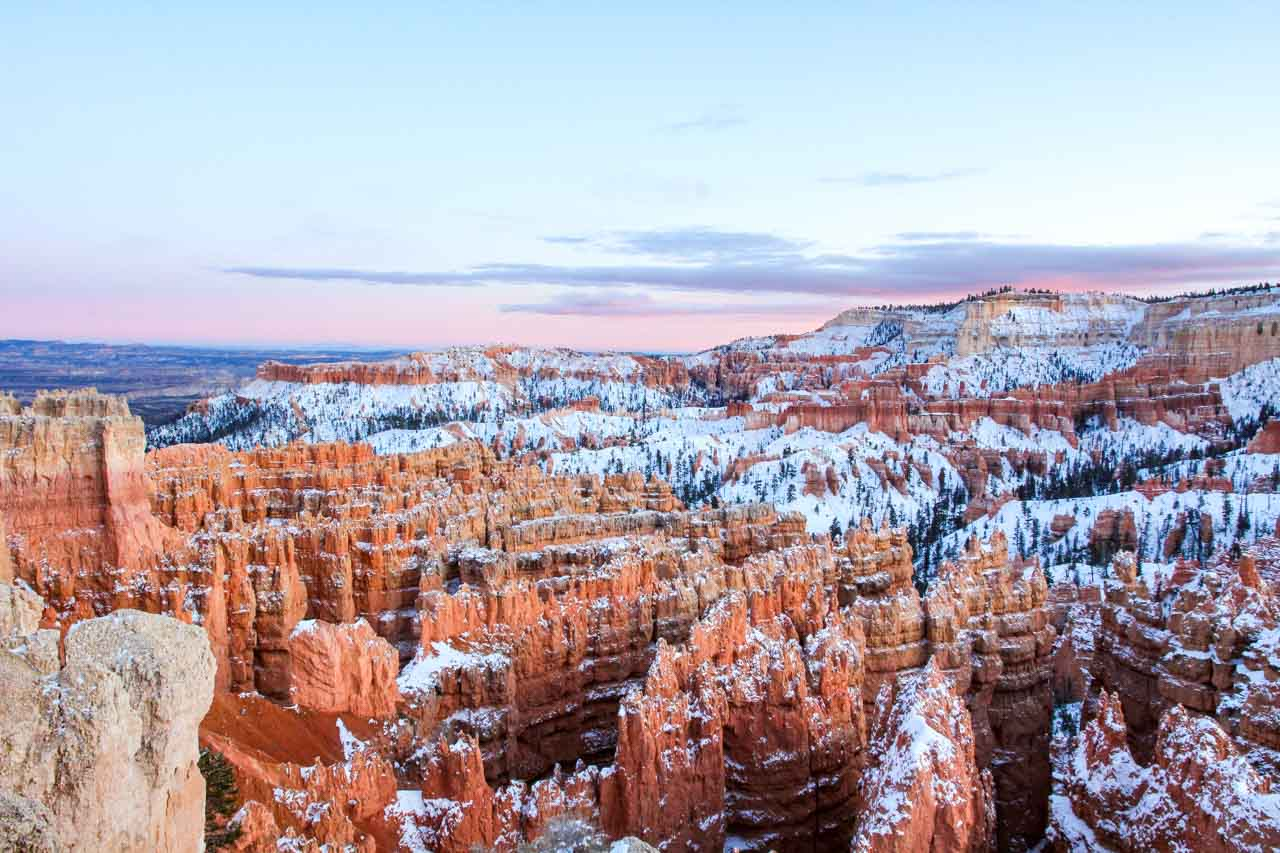 Photo of sunset over Bryce Canyon rock formations