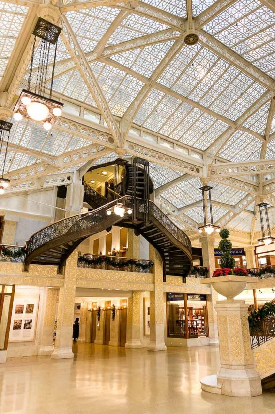 Photo of historic atrium with Christmas decorations