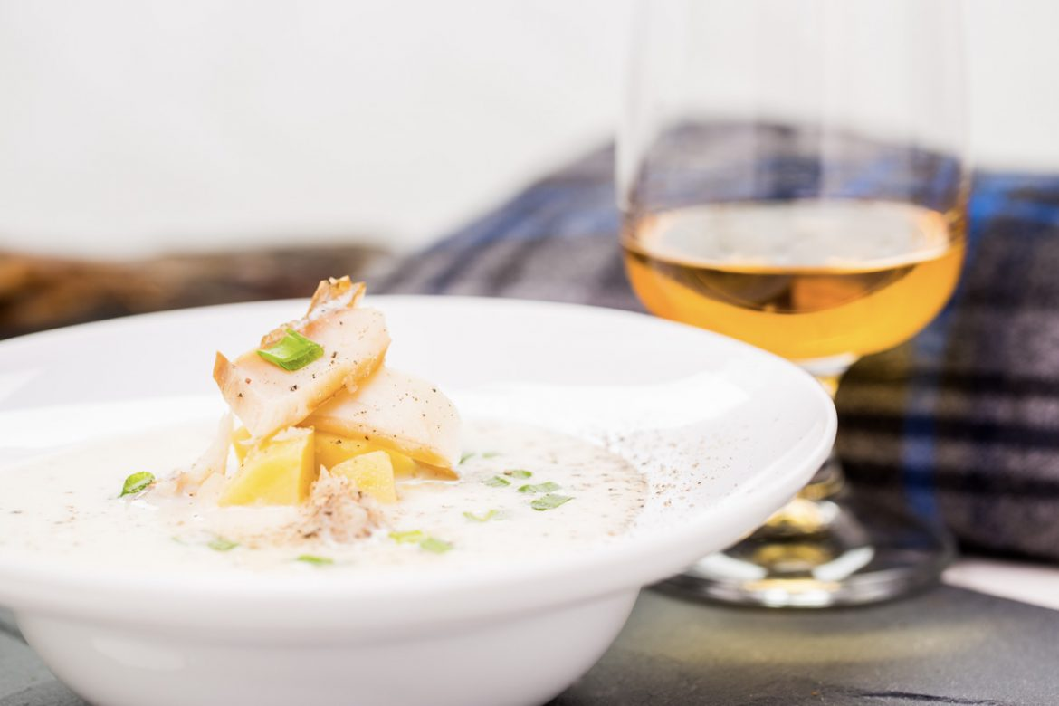 Scottish Cuisine - Cullen Skink and glass of whisky