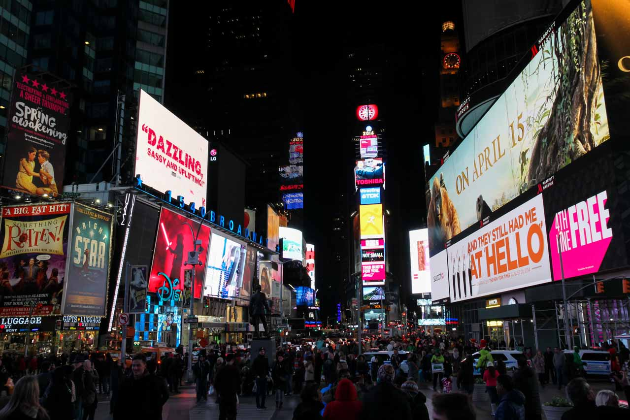 Times Square billboards and light at night