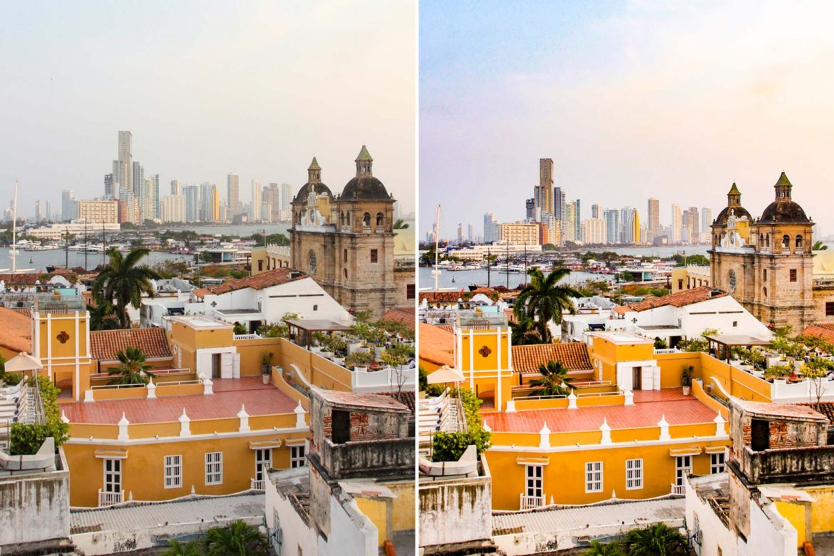 Before and after editing in Lightroom