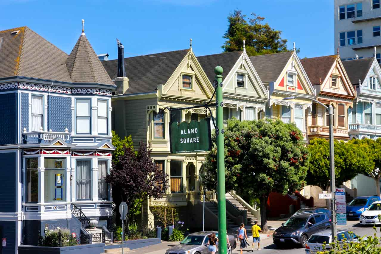 Postcard Row of Victorian homes viewed from Alamo Square