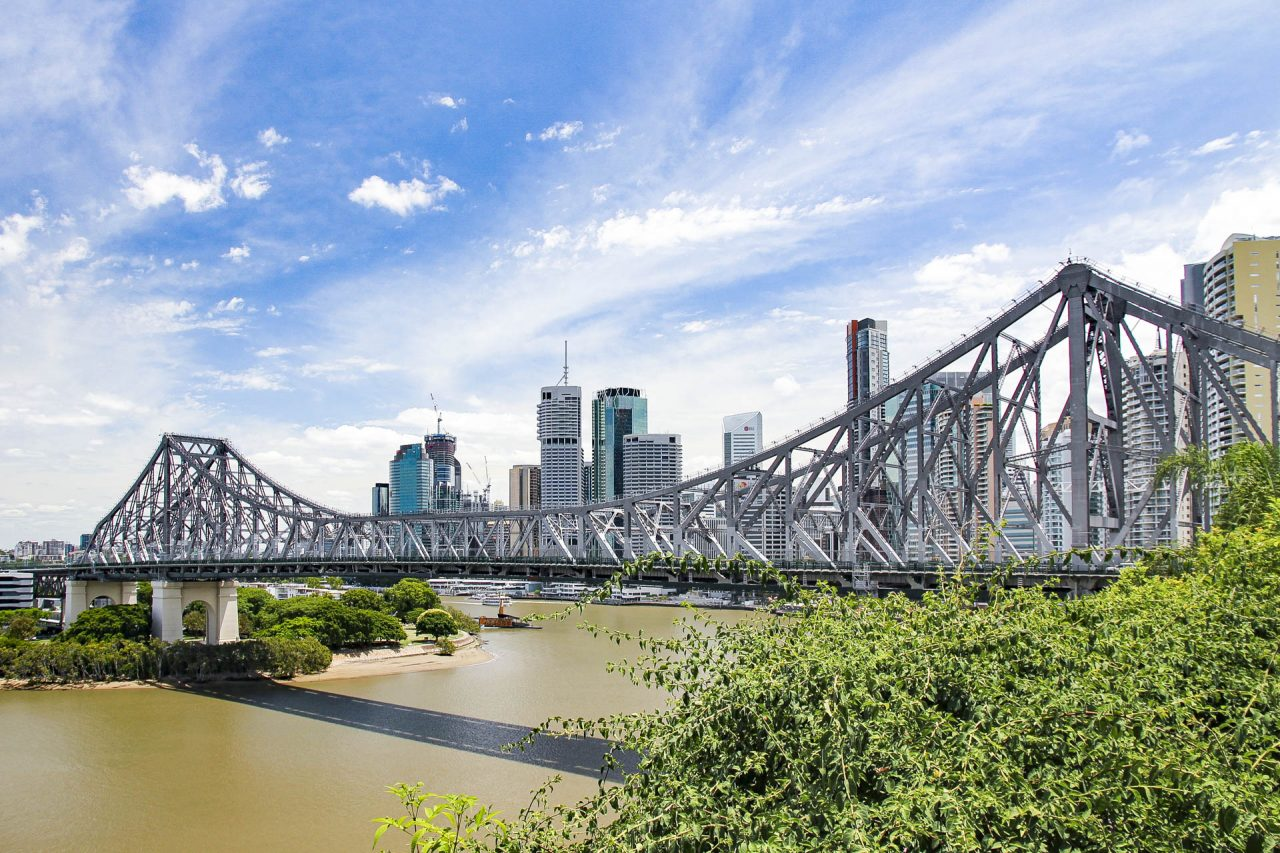 View of Story Bridge with Brisbane skyline in the background