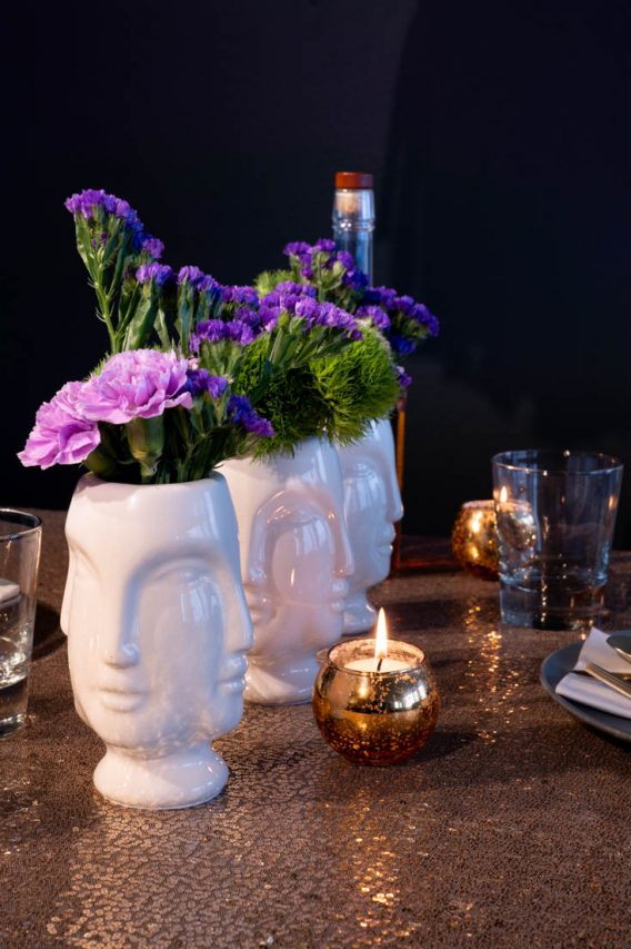 Mardi Gras mask inspired table centrepiece