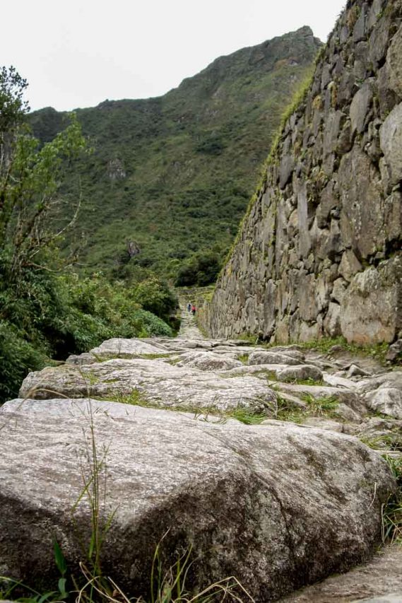 A stone path with mountain in the background.