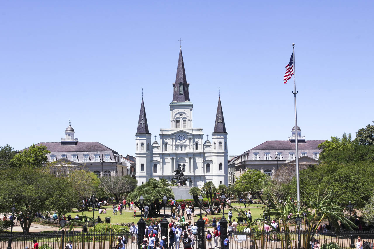 St Louis Cathedral viewed across Jackson Square, New Orleans
