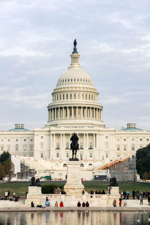 Exterior view of the US Capitol