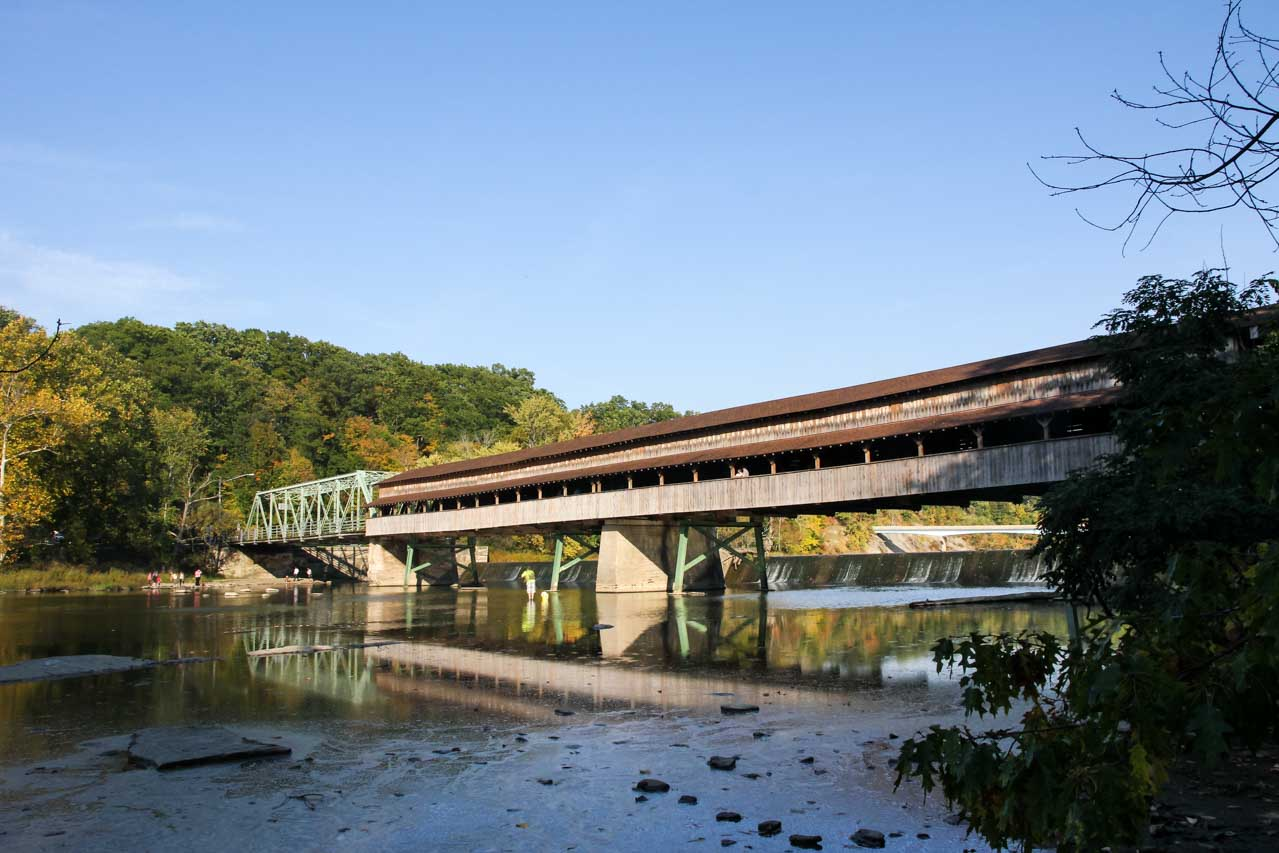 Harpersfield Bridge spanning the Grand River with blue sky