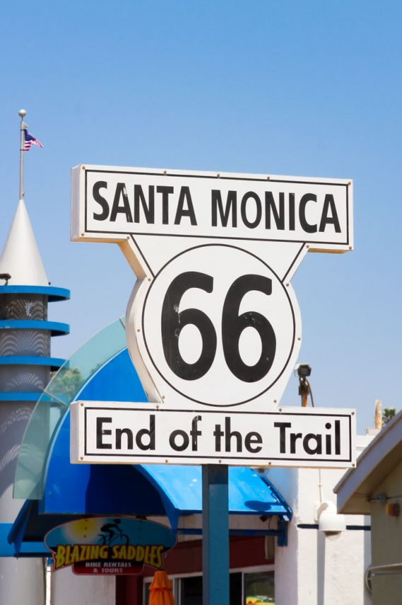 """Sign reading """"Santa Monica 66 End of Trail"""""""